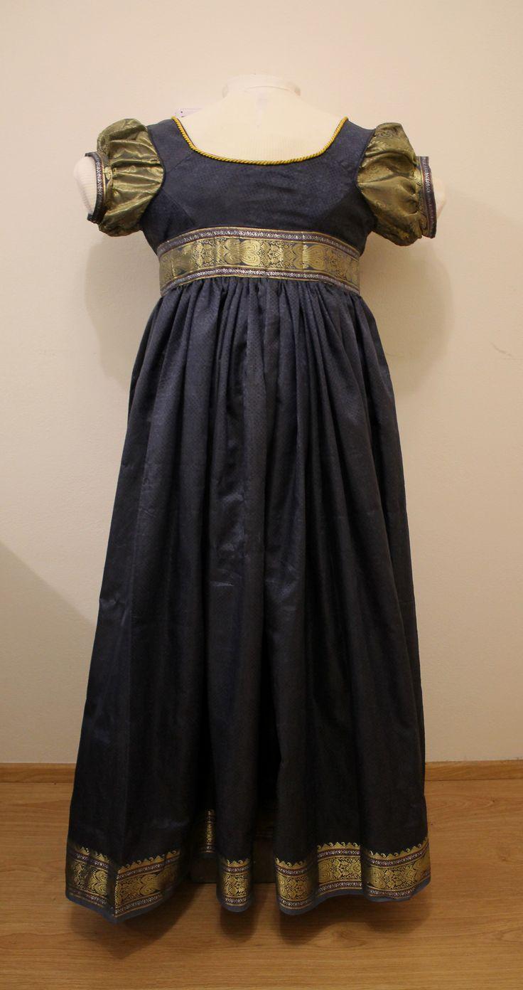 blue and gold regency evening dress back