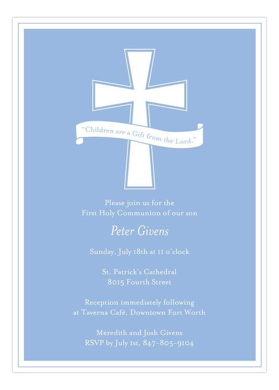 When you're searching the internet for baptism invitations for boys, try this Blue Cross Banner Invitation from The Rosanne Beck Collection. With a pure white communion cross and scripture, these invites cards make your religious celebration one to remember. This is a big day in a child's like. The First Communion is something of reverence and purity and should be treated as such. Invite all your friends and family to the church to watch the precious moment. This holy invite will do the…