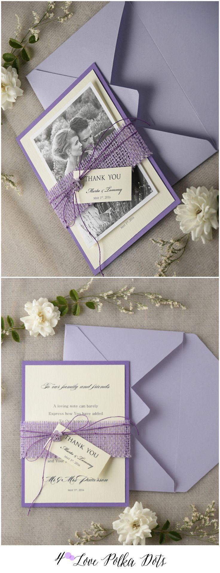 lotus flower wedding invitations%0A Lavender Rustic Thank You Card with your photo    weddingideas  rustic   rusticwedding      Floral WeddingDiy