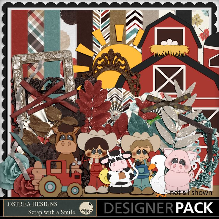 Kit name - On the farm (includes themed elements - chicken, cow, horse, pig)  https://www.mymemories.com/store/display_product_page?id=TFOS-CP-1701-118477&r=ostrea_designs