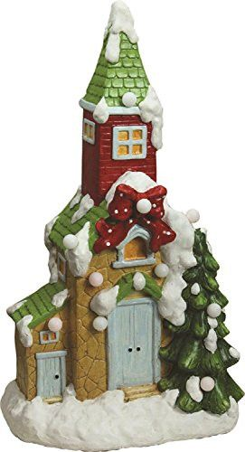 Felices Pascuas Collection 21.25 inch Christmas Morning Pre-Lit LED Snow Covered Church Decorative Christmas Tabletop Figure