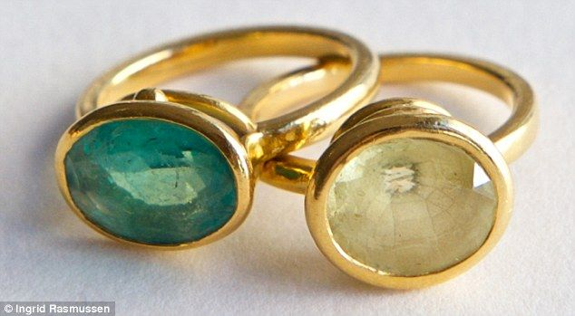 These rings have become my trademark. The two unusual-coloured sapphires in green and citrine were found for me by jeweller and gemologist William Welstead, who has a great knack of unearthing weird stones with interesting stories