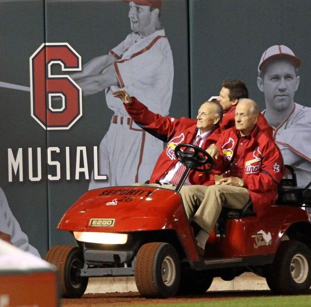 Cardinals legend Stan Musial makes a surprise appearance before Game 4 of the National League Championship Series between the St. Louis Cardinals and the San Francisco Giants on Thursday, Oct. 18, 2012, at Busch Stadium. Photo by J. B. Forbes