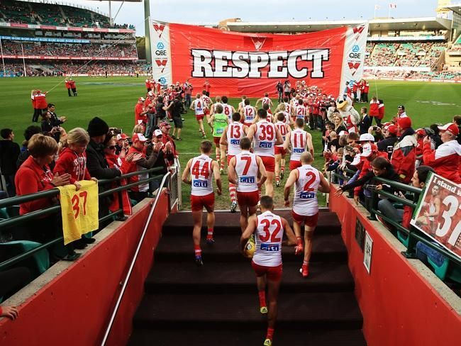 Standing up for Adam Goodes.  Swans fans unite in defiant show of support for Adam Goodes as Sydney says no to racism.