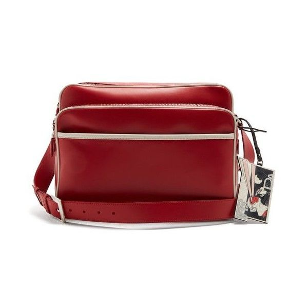 Prada  Contrast-piping messenger bag (81,145 THB) ❤ liked on Polyvore featuring men's fashion, men's bags, men's messenger bags, bags, red multi, prada mens messenger bag and mens leather messenger bag