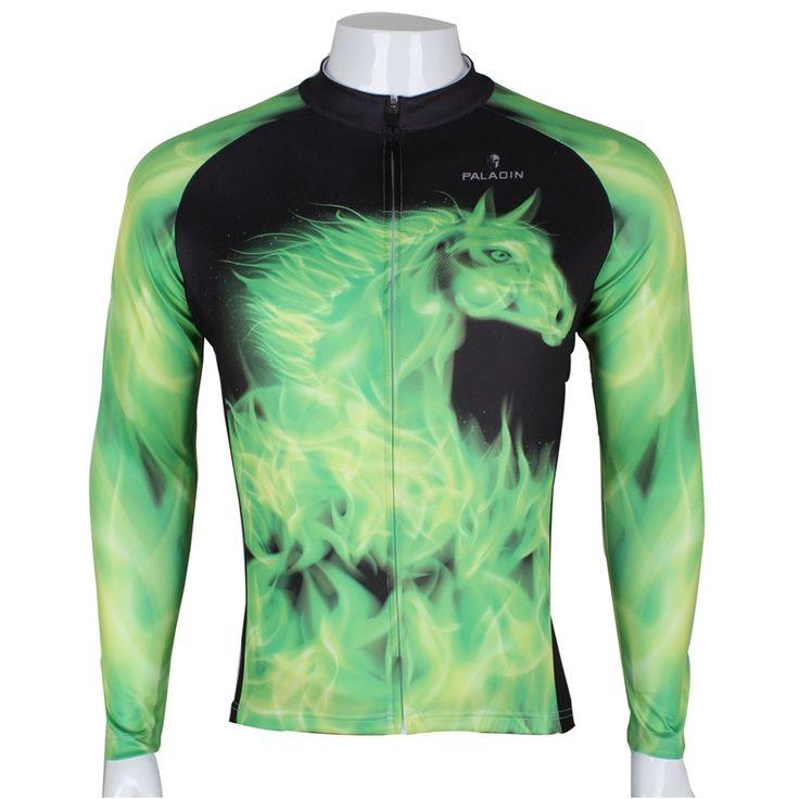 Горячая Продажа!!!! зеленая Лошадь мужская Велоспорт Открытый Полный Рукав Трикотаж Топ Блузка Велосипед Одежда Спортивная Куртка