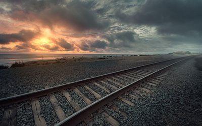 Scarica sfondi oceano pacifico, ferrovia, alba, ca