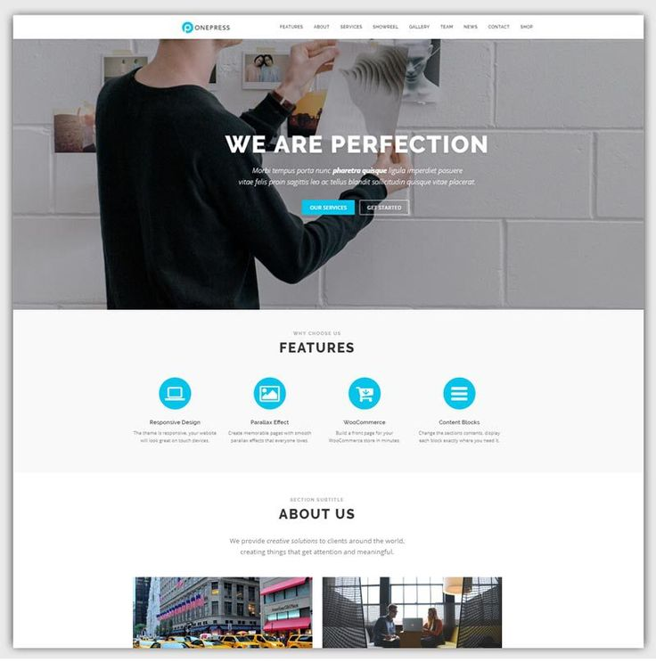 onepress theme gratuit WordPress responsive