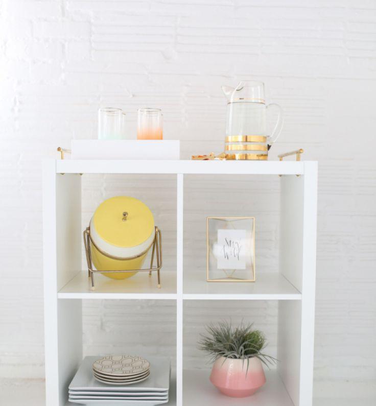 make an elegant bar cart from the ikea kallax organize with ikea expedit kallax bookcases. Black Bedroom Furniture Sets. Home Design Ideas