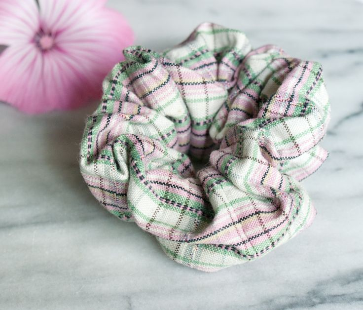 New to Chockrosa on Etsy: Hair Scrunchie - Hair Accessory - Pink Scrunchie - Handmade Scrunchy - Floral - Cotton Scrunchie - Ponytail Holder