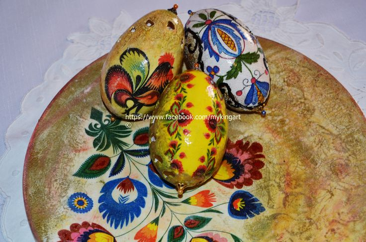 My handmade decorations : goose blown eggs on decoupaged/, hand painted  plate