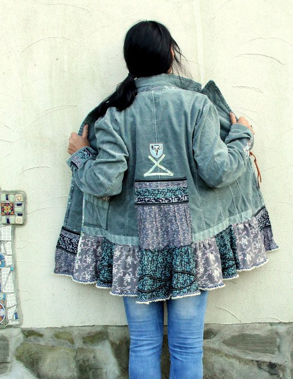 L-XL Mint velvet floral lappendeken upcycled jas door jamfashion