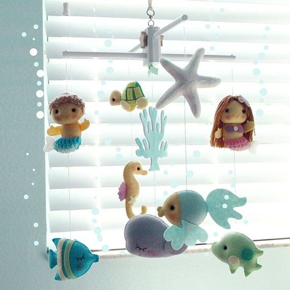 Musical Baby Mobile Mermaid Girl and Mermaid Boy with Under the Sea Fish, Nautical, Ocean Theme Room, Crib Mobile, Nursery or Kid Room Decor