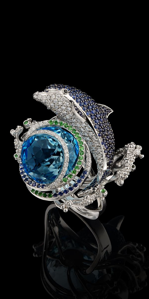 18K white gold, topaz, diamond, black diamond, blue sapphire and tsavority ring