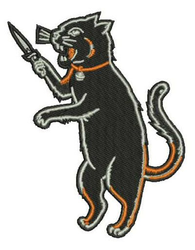 Iron On Black Cat Patch - Switchblade dagger knife - Halloween Rockabilly Psychobilly Retro Tattoo LowBrow Skater Hooligan on Etsy, $9.95