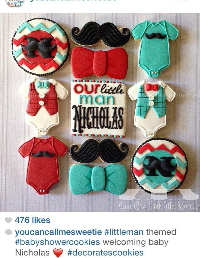 Hipster baby shower mustache sugar cookies