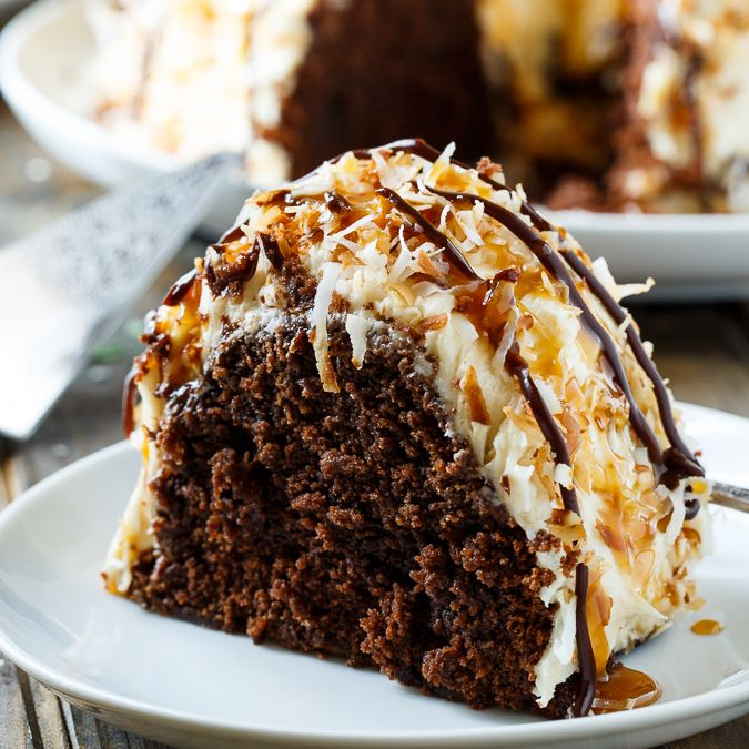 Samoa Bundt Cake | Spicy Southern Kitchen | moist chocolate cake covered in caramel frosting and covered in toasted coconut.