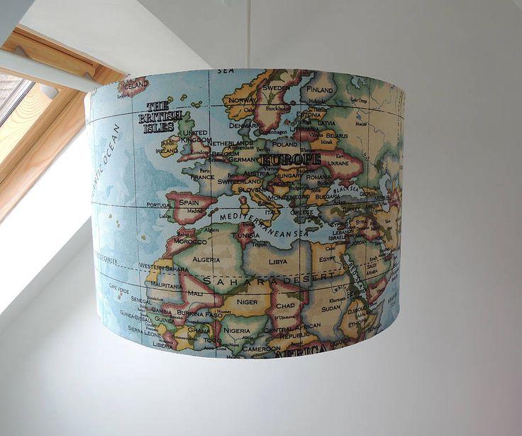 handmade world map fabric lampshade