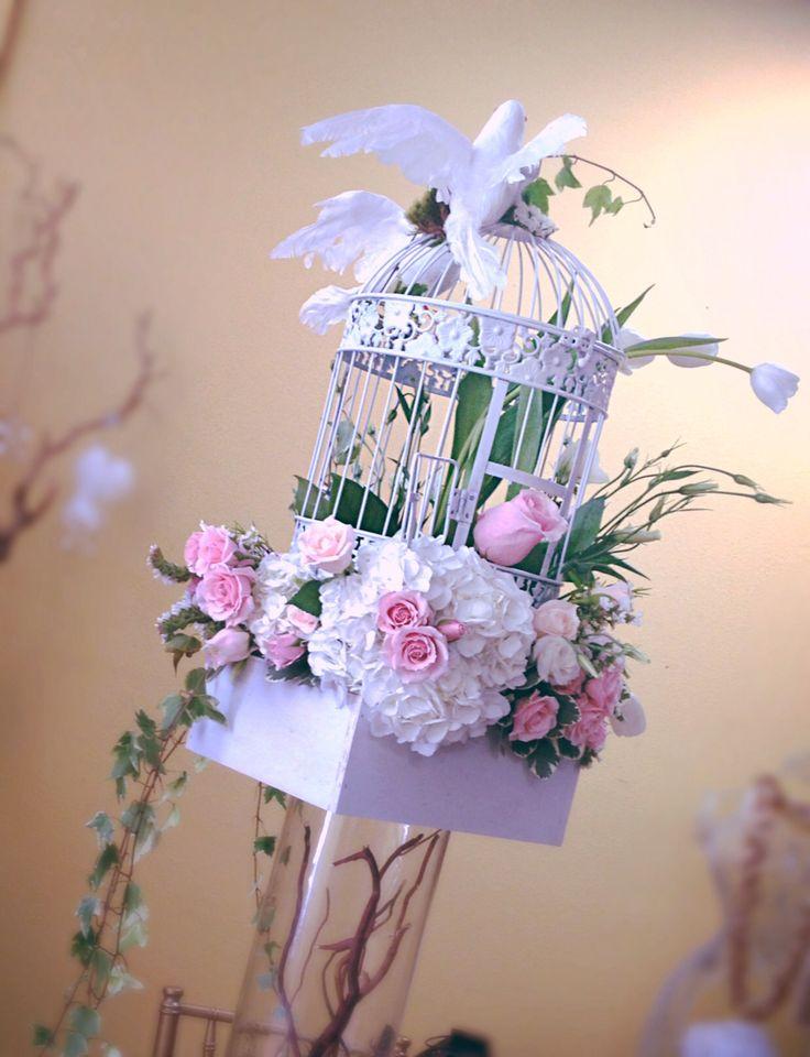 Bird cage centerpiece by Dezign Shop
