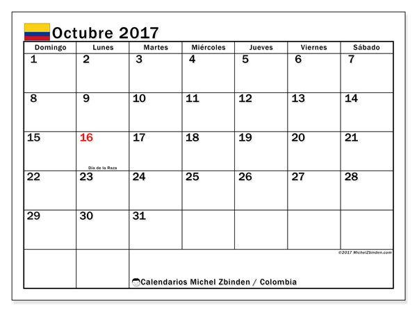 Calendario para imprimir octubre 2017 - Días festivos en Colombia