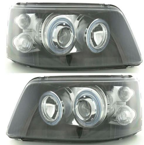 VOLKSWAGEN TRANSPORTER T5 INC.CARAVELLE 2003-2010 BLACK ANGEL EYES HEADLIGHTS