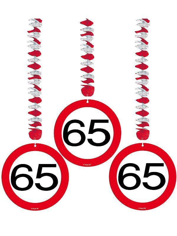 Rotorspiralen 65 jaar verkeersborden 3 stuks. Feestelijke decoratie voor een 65e verjaardag. U ontvangt drie stuks van deze stopbord rotorspiralen.