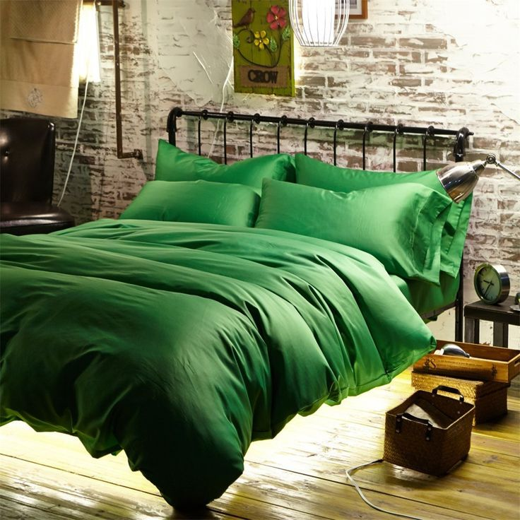 Newrara Luxury Linen Cotton Satin Solid Color Emerald-green Duvet Cover Bed Sheets Set Queen/king: Amazon.ca: Home & Kitchen