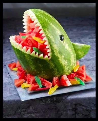 shark week..  shark watermelon!: Watermelon Sharks, Kids Parties, Fruit Salad, Sharks Weeks, Birthday Parties, Summer Parties, Sharks Watermelon, Parties Ideas, Pools Parties