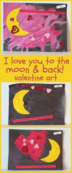 Love you to the moon preschool valentine art