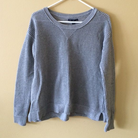 American eagle sweater Cable knit grey American eagle sweater. Size small. Never worn. See through American Eagle Outfitters Tops Tees - Long Sleeve