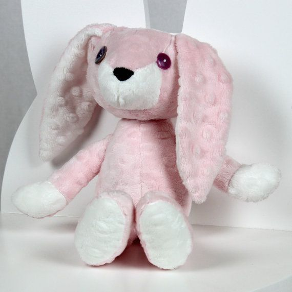 Plush Bunny Mimi Pink Rose  Nuva Handmade Stuffed by NuvaArt