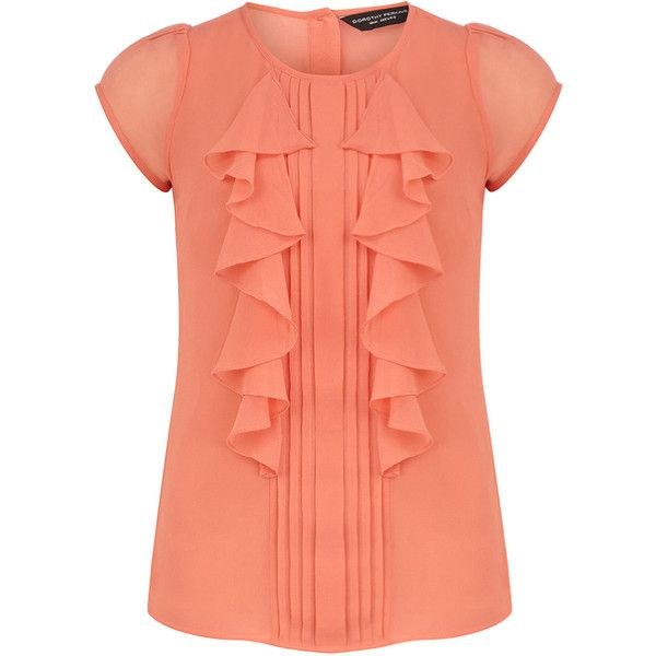 Coral short sleeve frill top (205 GTQ) ❤ liked on Polyvore featuring tops, shirts, coral, frilly shirt, short sleeve henley shirts, flounce bikini top, red shirt and red ruffle top