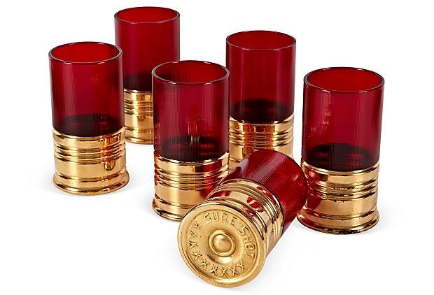 $299 OKL 1950s Sure Shot Glasses, Set of 6David Belle, Belle Antiques, Shotguns Shells, Stuff, One King Lane, Gift Ideas, Shots Glasses Oh, Bullets Shots, Guns Cases