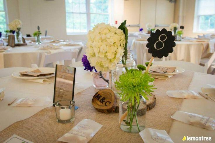 Table décor for a rustic wedding.