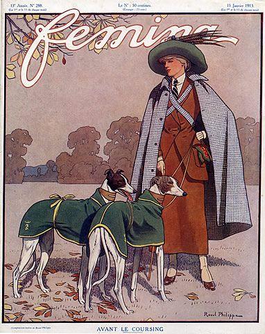 Very Stylish! Raoul Philippe 1913 Femina Cover, Sighthound, Greyhound Race