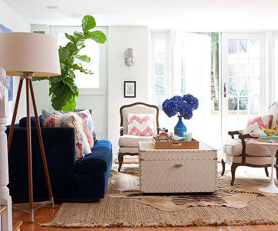 We love the blue sofa in this trendy living room! More living room designs: http://www.bhg.com/rooms/living-room/room-arranging/living-room-designs/?socsrc=bhgpin082313bluesofa=5