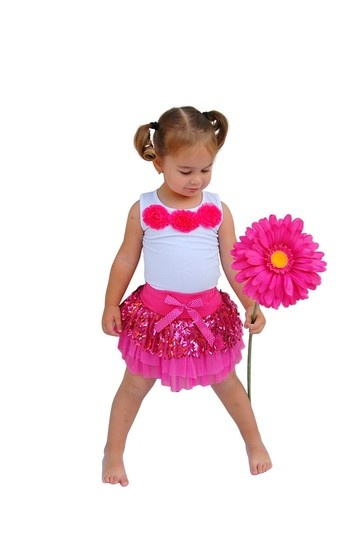 Mia Belle Baby Sequin Tulle Skirt With Matching Tank