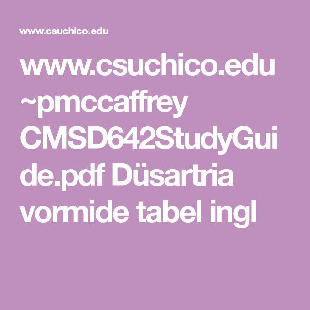 www.csuchico.edu ~pmccaffrey CMSD642StudyGuide.pdf    Düsartria vormide tabel ingl