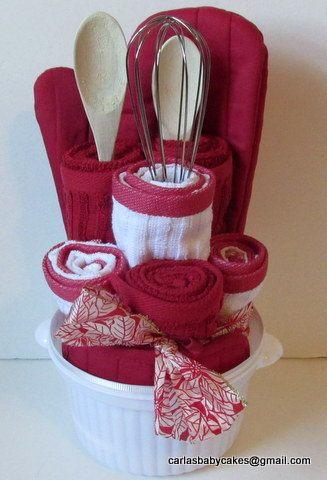 Red Kitchen Towel Cake Housewarming Gift by MsCarlasBabyCakes