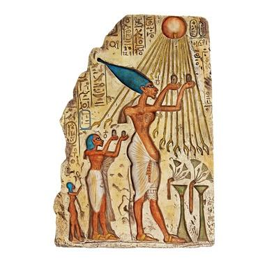 Pharaoh akhenaten offering to aten the sun wall sculpture