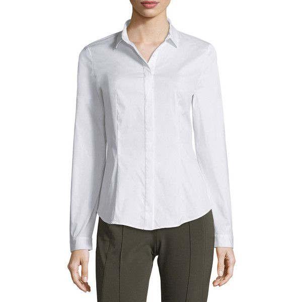 Lafayette 148 New York Frieda Button-Front Stretch-Cotton Blouse ($328) ❤ liked on Polyvore featuring plus size women's fashion, plus size clothing, plus size tops, plus size blouses, white, fitted white blouse, fitted blouse, white blouse, white long sleeve blouse and long sleeve tops