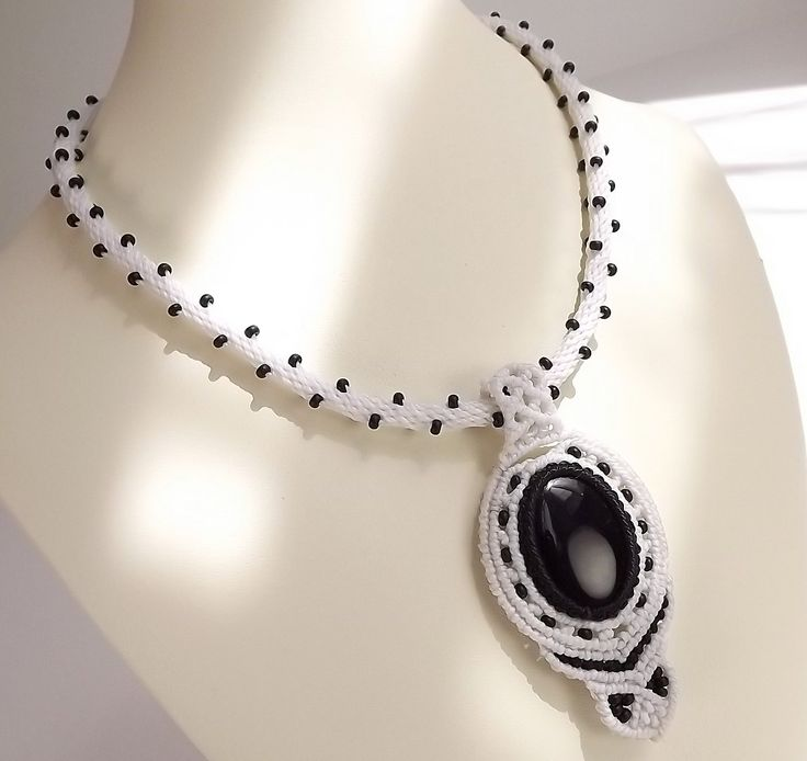 Kumihimo Necklace, Macrame Pendant - Black Onyx with White Thread by neferknots on Etsy