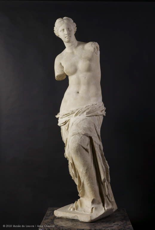 "Although not a French piece, the well known Aphrodite, known as the ""Venus de Milo"" C. 100 BC now resides in the Louvre Museum in Paris"