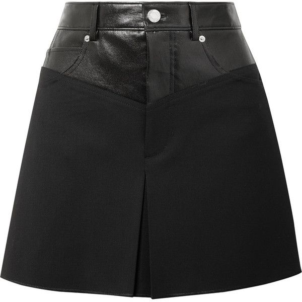 Helmut Lang Leather-paneled wool-blend mini skirt (£330) ❤ liked on Polyvore featuring skirts, mini skirts, bottoms, saia, black, short pleated skirt, genuine leather skirt, pleated skirt, leather skirts and short leather skirt
