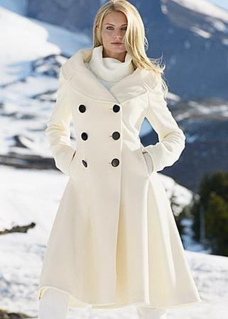 Пальто зимнее женское белое