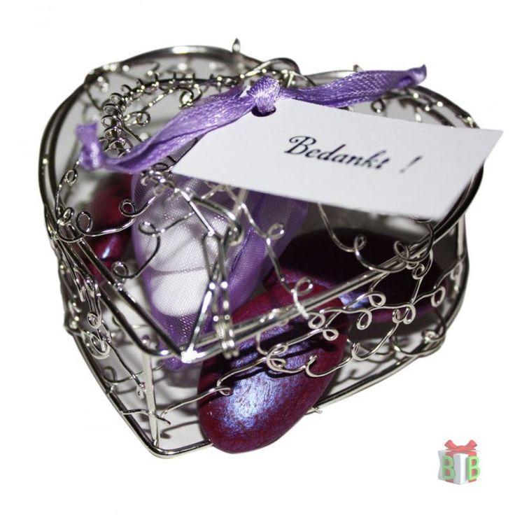 Zilveren hartje paars gevuld