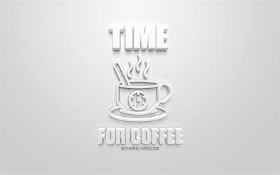 تحميل خلفيات وقت القهوة الأبيض رمز 3d خلفية بيضاء أنيقة الفن 3d علامات 3d فنجان القهوة رمز Besthqwallpapers Com Coffee Animated Gif Enamel Pins