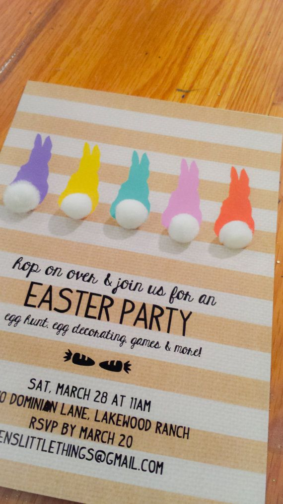 FREE Easter Party Invitation Design / Five sweet pastel bunnies against a burlap, striped white and gold background. Just add pom pom or puff ball for that cotton tail, write in your party details and have a blast!
