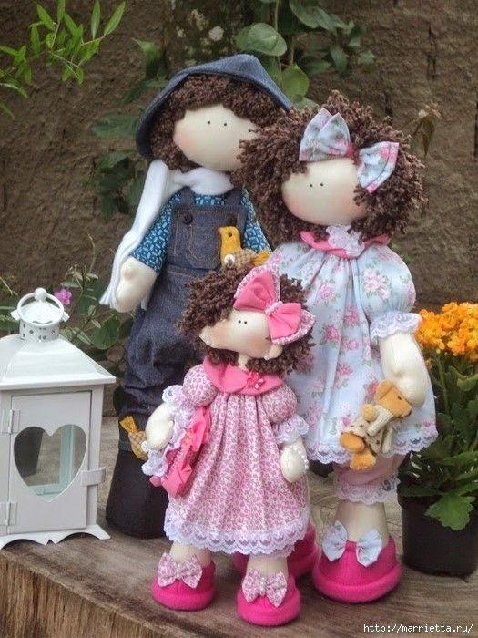 Familia completa de muñeca dolly con patrones y paso a paso.