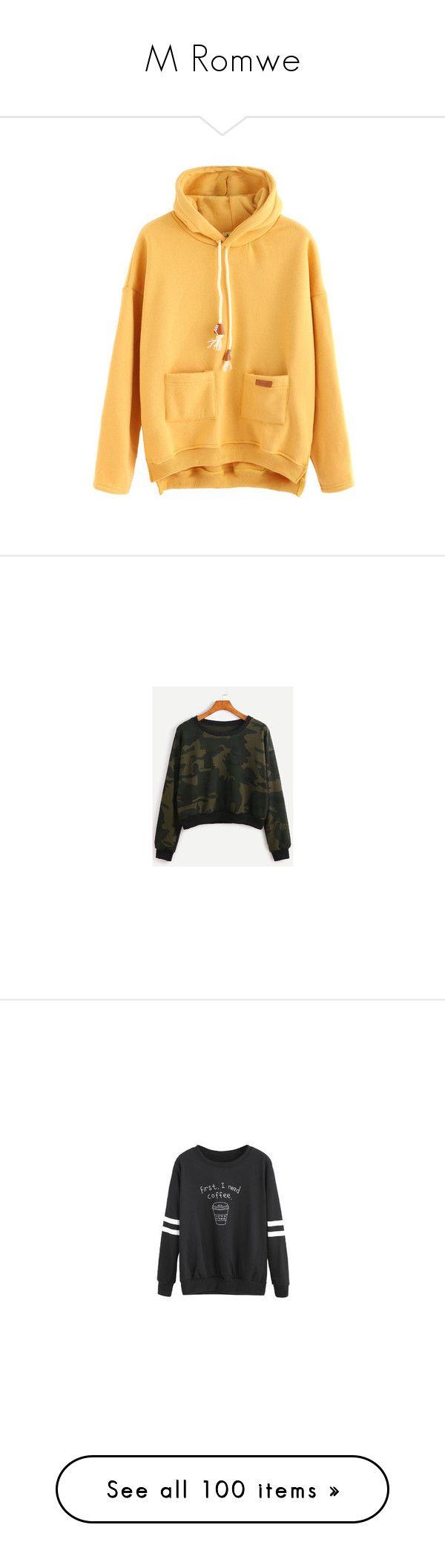 """""""M Romwe"""" by pocok01 ❤ liked on Polyvore featuring tops, hoodies, sweatshirt hoodies, yellow hoodie, yellow top, hooded sweatshirt, hooded pullover, sweatshirts, burgundy top and drop shoulder sweatshirt"""